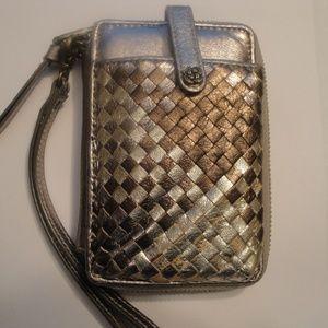Metallic Zip Around Wristelet Wallet Clutch